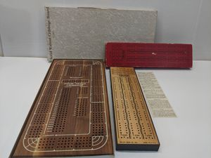 2 Wooden Cribbage Games - 1 is a Four Track, the other is a Three Track for Sale in Mount Prospect, IL