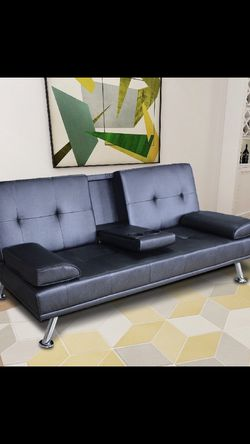 🔥New! Black executive sofa bed sleeper futon w/cupholders for Sale in San Diego,  CA