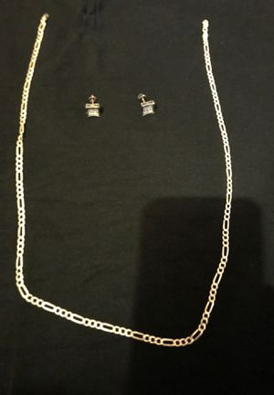 """.925 silver men's diamond screw back earrings and 26"""" chain for Sale in Cleveland, OH"""