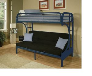 """Eclipse """"c"""" shaped style twin over full futon blue finish tubular metal bunk bed for Sale in Naples, FL"""
