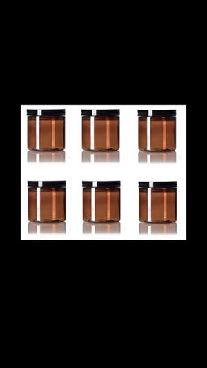 New. Premium Vials Amber Straight Sided Plastic Jars with Black Smooth Lid, 6 Pack for Sale in Corona, CA