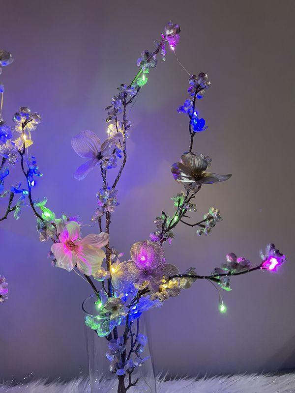 Silk Flowers Glass Vase Led Lights