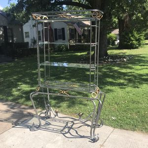 Gray Metal Hutch w/Gold Accents and Glass Shelves for Sale in Jenks, OK