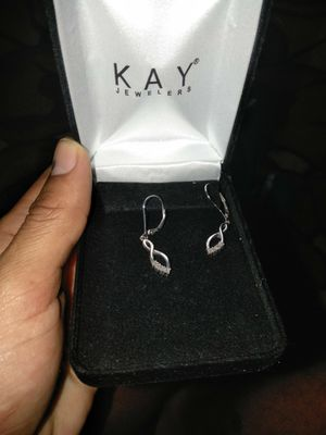 Real diamond earrings 925 pure silver for Sale in Bartow, FL