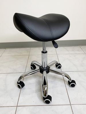 New $25 Saddle Stool Salon Spa Medical Swivel Hydraulic Seat Chair Rolling Wheels, Black Color for Sale in South El Monte, CA