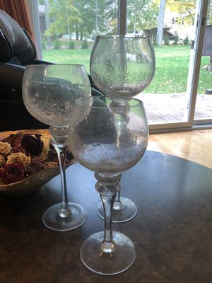 Set of 3 hurricane candle holders for Sale in Livingston, NJ