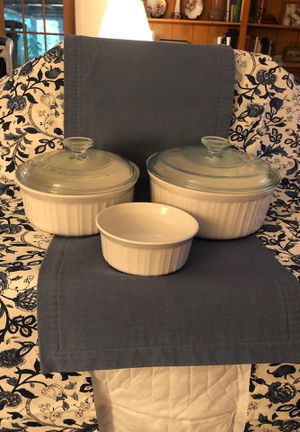 Corningware French White casserole dishes for Sale in Texas City, TX