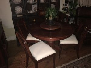 Mahogany round table with leaf + 4 solid walnut antique chairs for Sale in Chapin, SC