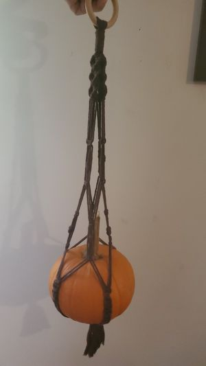 Brown macrame pumpkin/ plant holder for Sale in Concord, NC