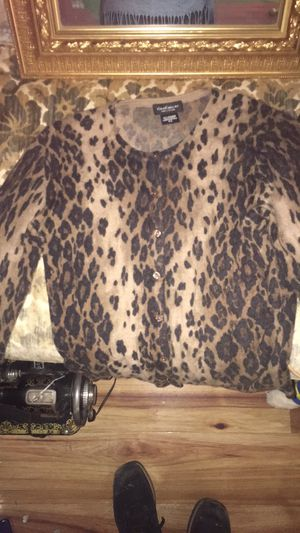 Lord and Taylor leopard print cashmere cardigan for Sale in Rockville, MD