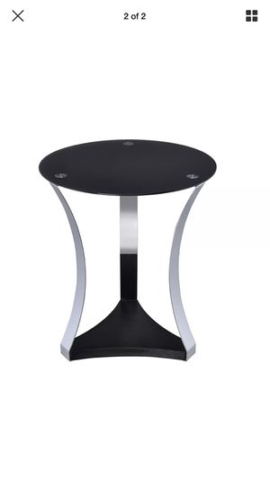 ACME Furniture Geiger Collection End Table in Black Glass and Chrome Frame for Sale in Chicago, IL