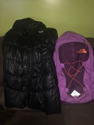 North face backpack & size 14-16(LG) girl coat for Sale in Boston, MA