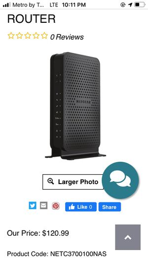 NETGEAR C3700-100NAS IEEE 802.11AC CABLE MODEM/WIRELESS ROUTER for Sale in Philadelphia, PA