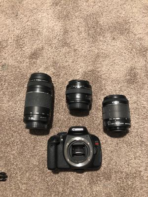 Canon Rebel T3i with 3 lenses 75-300 mm / 50 mm and 18-55mm for Sale in Miami, FL
