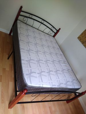 Full size bed frame new in the box with the mattress and free delivery and free set up for Sale in Hialeah, FL