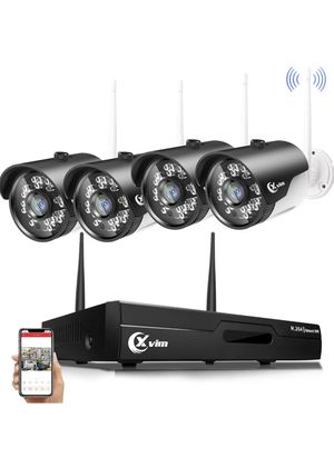 1080P Wireless 4CH Video Security System with 4pcs 2.0 Megapixel Indoor/Outdoor Wireless Surveillance Cameras 85ft Night Vision,No Hard Drive for Sale in Montebello, CA