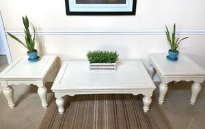 Newly refinished rustic white wood end table / accent table for Sale in Boca Raton, FL