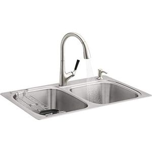 Kohler R75791-2PC-NA All-in-One Dual-Mount Double Bowl Kitchen Sink Kit with Faucet and Accessories, Brushed Stainless FINANCE AVAILABLE for Sale in Houston, TX