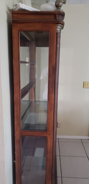 Kuliwood and leather curio cabinet for Sale in West Palm Beach, FL