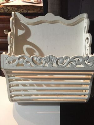 Shabby chic wooden hanging basket , magazine rack, floral front door piece for Sale in Fort Lauderdale, FL