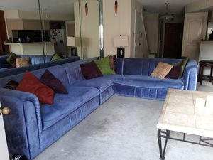 Suede Blue Large Sectional for Sale in Houston, TX