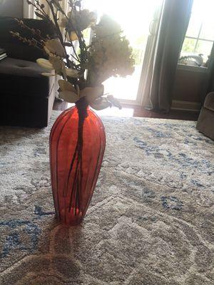 Tall orange vase with flowers for Sale in Leesburg, VA