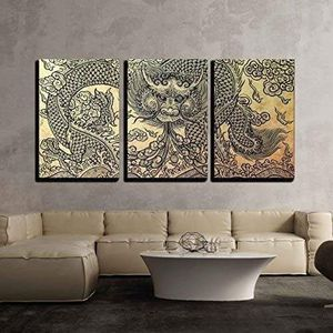 """3 Piece Canvas Wall Art - The Old Pattern of Dragon - Modern Home Decor Stretched and Framed Ready to Hang - 24""""x36""""x3 Panels for Sale in Westminster, CA"""