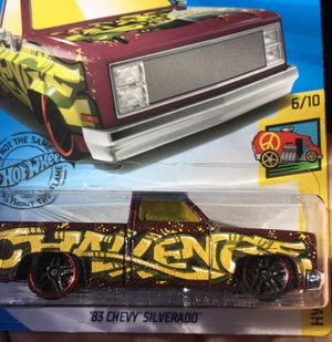 Hot wheels 83 Chevy Silverado NEW 2019!!! Collectible die cast toy truck $5 obo trade Hotwheels jdm honda Nissan datsun Civic crx integra gtr for Sale in Colton, CA