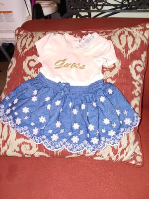 Dress for a little girl 6-9 m top is soft pink bottom denim with flower print for Sale in Highland, CA