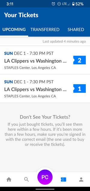 2 Clippers vs Wizards tickets with parking for Sale in Irvine, CA