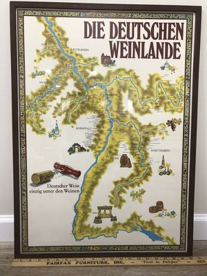 Beautiful Map of Germany's Wineland for Sale in Vienna, VA
