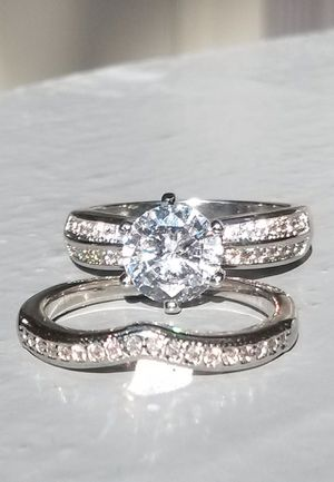 Brilliant Cut White Sapphire Sterling Silver Ring Set Size 8 Stamped for Sale in Shelton, WA