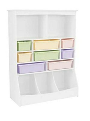 "KidKraft Wooden Wall Storage Unit with 8 Plastic Bins & 13 Compartments - White, 53"" x 20"" x 8"" for Sale in Columbus, OH"