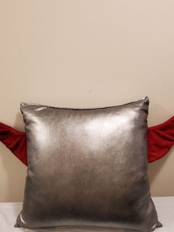 """HUGE (24"""" x 27"""" + with 12"""" Wings), SOFT SILVER-TONE PILLOW w/SOFT RED FABRIC WINGS - firm price for Sale in Bailey's Crossroads,  VA"""