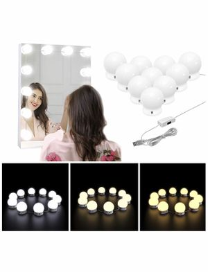 Nicewell Vanity Lights, Hollywood Style 3 Colors LED Makeup Vanity Mirror Lights Kit with 10 Dimmable Light Bulbs for Vanity Table and Bathroom Dress for Sale in San Diego, CA
