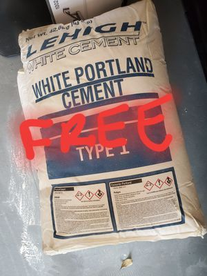 FREE 2 bags white cement MUST PICK UP IN BOCA for Sale in Boca Raton, FL