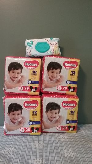 Huggies size 4 diapers and Pampers wipes for Sale in South Attleboro, MA