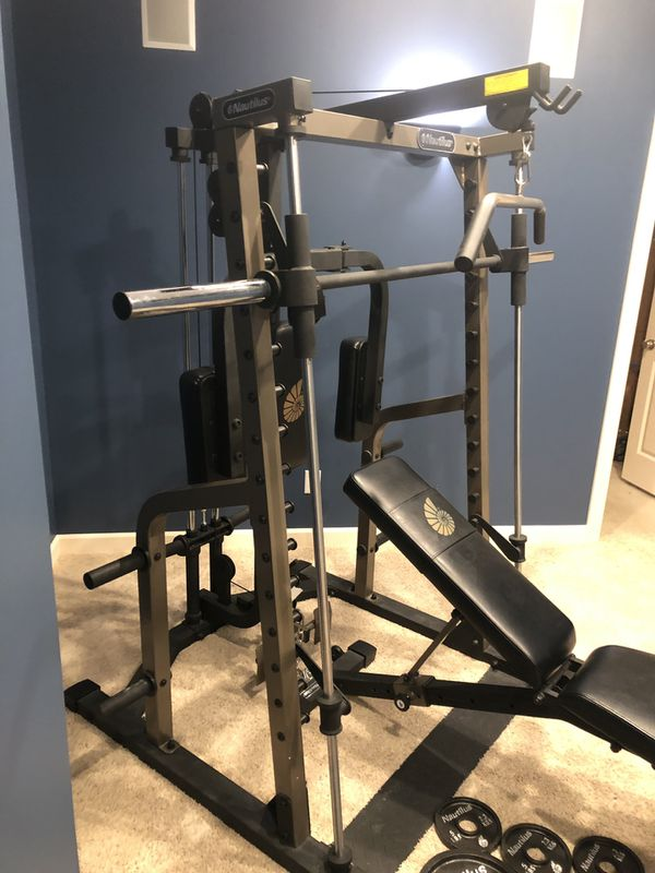 Nautilus smith machine home gym weight set