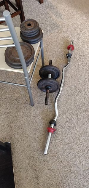Easy curl bar, small curl bar, 4x 10 lb, 2x 5lb, 3x 2.5 lb weights for Sale in Clearwater, FL