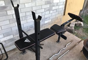 BENCH SET WITH BAR, CURLING BAR, BARBELL SPIN LOCK COLLARS for Sale in Austin, TX