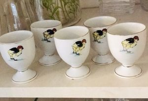 egg cup set Vintage china rooster hand painted for Sale in Washington, DC