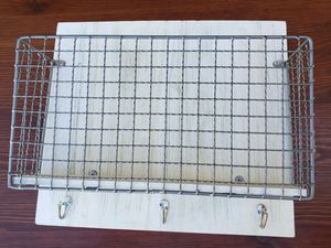 Wall Mounted Mount Rustic Farm Barn Farmhouse Metal Basket Mail Rack Organizer Holder + 3 Key Hooks INCLUDED for Sale in Monterey Park, CA