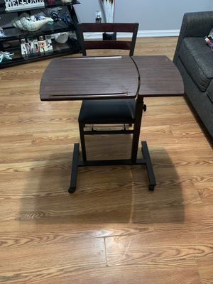 Rolling adjustable desk and foldable chair for Sale in Broken Arrow, OK