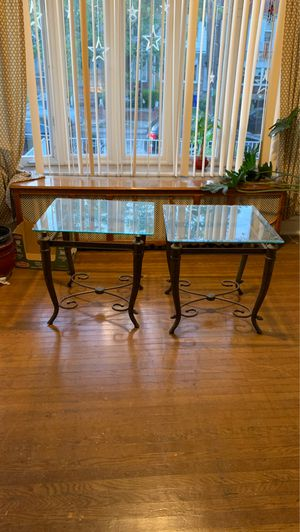 Glass top end tables pair for Sale in Philadelphia, PA