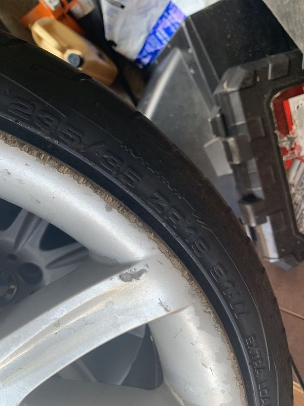 """Bmw style 95 19"""" wheel and tire 2 brand new tires and 2 about 60%"""