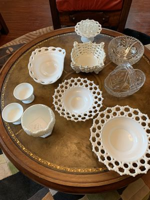 Antique milk glass collections and chrystals for Sale in Portland, OR