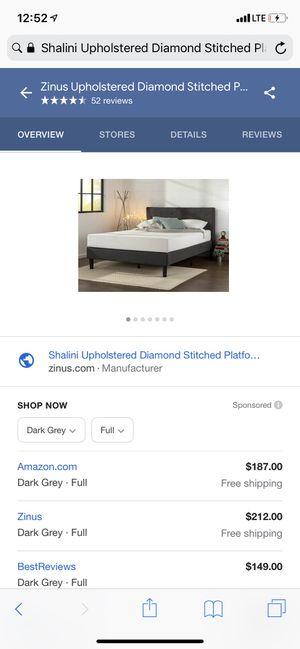 Grey upholstered full bed frame for Sale in Phoenix, AZ