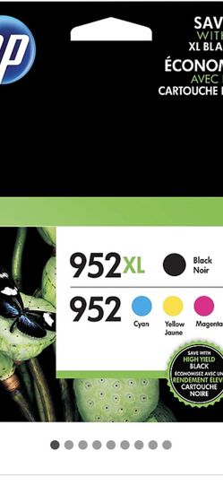 HP 952XL/952 Black High Yield, Cyan/Magenta/Yellow Standard Yield Ink Cartridges, 4/Pack (N9K28AN) for Sale in Seattle,  WA