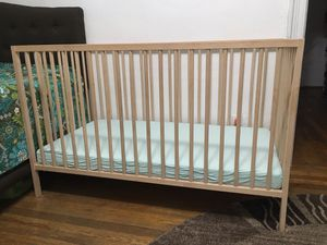 Baby bad( ikea) solid wood with mattress for Sale in Brooklyn, NY