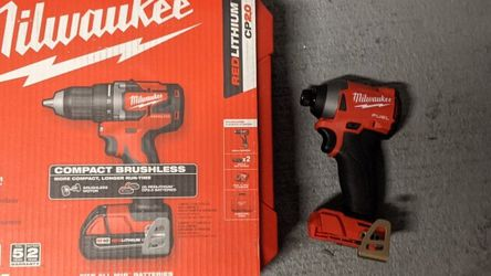Milwaukee 18 volt 1/2 in. Brushless Cordless Compact Drill/Driver Kit (Battery & Charger)and M18 FUEL 18 volt 1/4 in. Cordless Brushless Impact Driver for Sale in Aurora,  CO